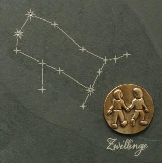 Wandrelief Sternzeichen Zwillinge Schiefer Swarovski Schiefertafel Wandbild Deko