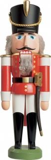 Nussknacker Husar rot 28 cm Holz-Figur Handarbeit aus Seiffen im Erzgebirge