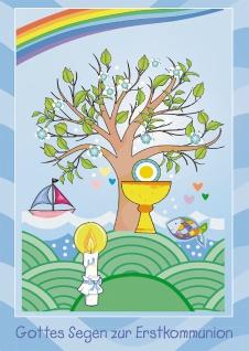 Glückwunschkarte Gottes Segen zur Erstkommunion (6 St) Lebensbaum Grußkarte
