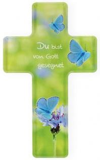 Kommunion Kreuz Du bist von Gott gesegnet 14 cm Acrylglas Glaskreuz