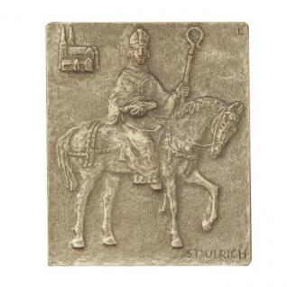 Namenstag Ulrich Ulrike Uwe 13 x 10 cm Bronzerelief Wandbild Schutzpatron