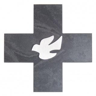 Wandkreuz Schiefer Taube Edelstahl Auflage Kreuz 12 cm Kruzifix Christlich