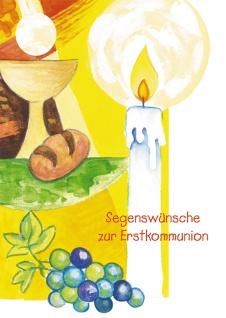 Glückwunschkarte Segenswünsche zur Erstkommunion (6 St) Kerze Kelch Brot Psalm