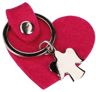 Schlüsselanhänger Schutzengel Metall Herz aus pinkem Wollfilz