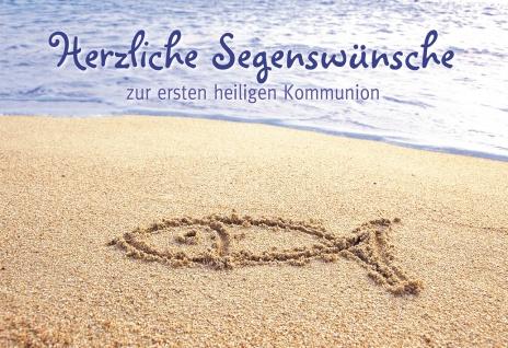 Glückwunschkarte Herzliche Segenswünsche zur Kommunion (6 St) Fischsymbol