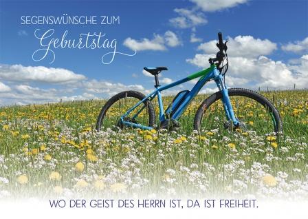 Postkarte Geburtstag Fahrrad 10 St Adressfeld Bibelwort Segen Blumenwiese Himmel