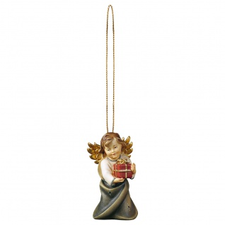Herzengel mit Geschenk und Goldfaden Holzfigur geschnitzt Engelfigur Südtirol