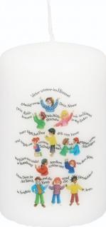 Stumpenkerze Vater unser Gebet, komplett 10 cm Tischkerze Kinder Druckmotiv