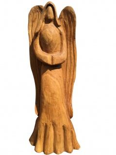 Engel Standfigur Eiche Holz geschnitzt wetterfest 105 cm für Aussenbereich