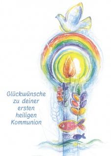 Kommunionkarte Glückwünsche Erstkommunion (6 Stck) Grußkarte Kommunion Kuvert