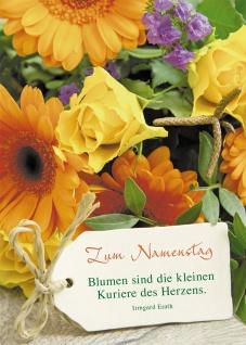 Postkarte Zum Namenstag (10 St) Blumenstrauß Irmgard Erath Grußkarte Adressfeld