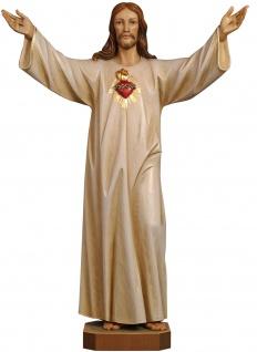 Heiligenfigur Herz-Jesu vergoldet Holz Figur handbemalt Südtirol Schnitzkunst