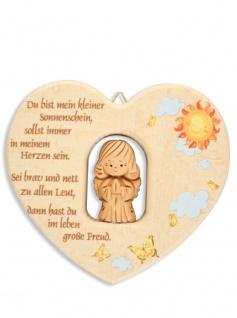 Herz Ton-Schutzengel Naturholz 11 cm Kinder Wandschmuck Segen Gebet Taufe