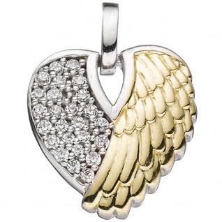 Herz Anhänger Engelsflügel 925 Silber bicolor rhodiniert vergoldet Engel Schmuck