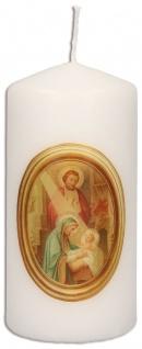 Stumpenkerze Weihnachten Krippe mit Druckmotiv Irmgard Erath 10 cm