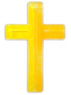 Kreuz aus Glas Fusing Kreuz Handarbeit gelb orange 15 cm Wandkreuz Unikat