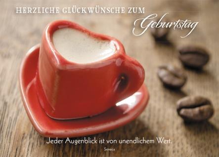 Postkarte Herzliche Glückwünsche zum Geburtstag (10 St) Espresso in Herztasse