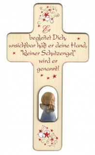 Kinderkreuz geschnitzter Engel blau Naturholz Kleiner Schutzengel 20cm Wandkreuz