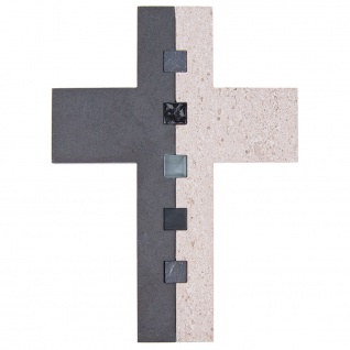Wandkreuz Schiefer Kalkstein Kreuz Glaseinlage 22 cm Kruzifix Christlich