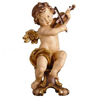Putte mit Geige auf Standkonsole Holzfigur geschnitzt Südtirol Puttenfigur