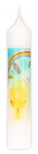 Kommunionkerze Kelch Regenbogen Ähre 26, 5 cm Kerze zur Kommunion