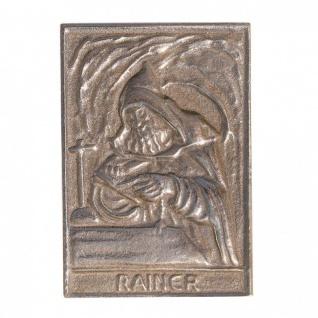 Namenstag Rainer 8 x 6 cm Bronzeplakette Bronzerelief Wandbild Schutzpatron