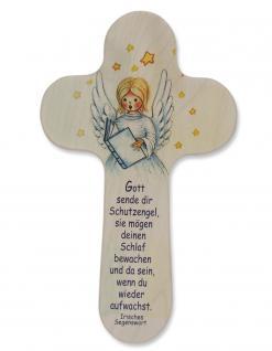 Kinderkreuz Engel Buch Naturholz Irisches Segenswort 20 cm Wandkreuz Holz Kreuz