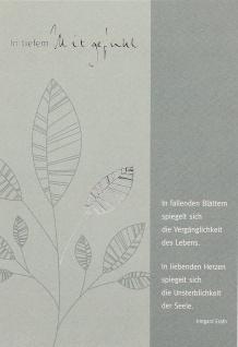 Trauerkarte In tiefem Mitgefühl Blätter (6 Stck) Beileidskarte Kondolenzkarte