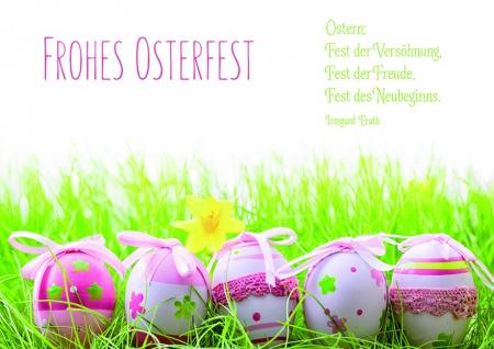 Osterkarte Frohes Osterfest (6 Stück) Glückwunschkarte Kuvert Grußkarte