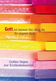 Glückwunschkarte Gottes Segen zur Erstkommunion Text und Kuvert 6 Stk