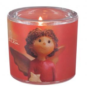 Glaswindlicht Frohe Weihnachten Engel Teelicht Kerzenhalter Glas für Windlicht