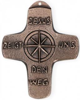 Kommunionkreuz Jesus zeigt uns den Weg 10, 5 cm Bronze Bronzekreuze Kommunion