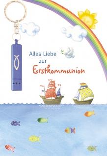 Glückwunschkarte blaue Taschenlampe (5 Stck) Grußkarte Erstkommunion Kuvert