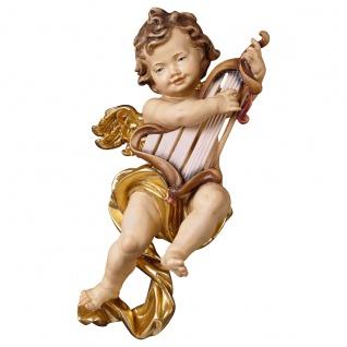 Putte mit Harfe Holzfigur geschnitzt Südtirol Puttenfigur