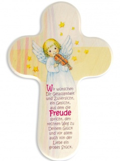 Kreuz für Kinder Schutzengel Violine 16 cm Kruzifix Holz-Kreuz Wandkreuz