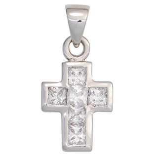 Schmuck Anhänger Kreuz 925 Sterling Silber Zirkonia Schmuckkreuz
