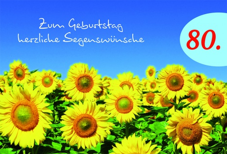 Geburtstagskarte 80. Geburtstag Psalm (6 Stck) Glückwunschkarte Kuvert - Vorschau