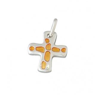 Kreuz-Anhänger silberfarben Email orange 1, 5 cm Christliches Schmuck Kreuz