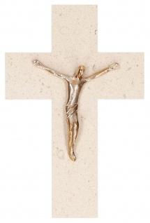 Kruzifix Bronze Korpus Naturstein 20 cm Fonteyne Kreuz Wandkreuz