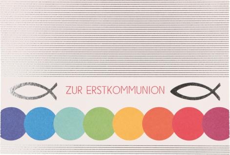 Glückwunschkarte Fische Zur Erstkommunion (6 Stück) Kuvert Grußkarte Kommunion