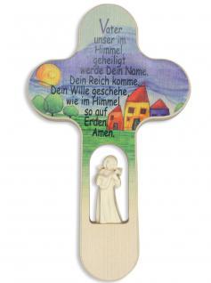 Kinderkreuz geschnitzter Engel Vater Unser.. Naturholz 21cm Wandkreuz Gebet Holz