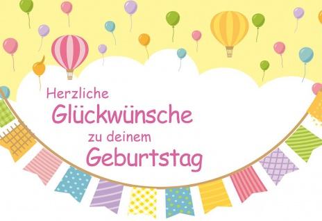 Glückwunschkarte Kindergeburtstag 6 St Kuvert Jahreszahlen Stickerbogen Farbdruck