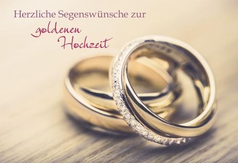 Glückwunschkarte Herzliche Segenswünsche zur goldenen Hochzeit (6 St) Eheringe