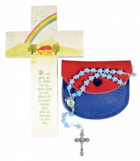 Rosenkranz Geschenkset zur Erstkommunion blau Kinderkreuz