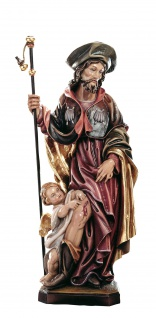 Heiliger Rochus Heiligenfigur Holz geschnitzt Südtirol Schutzpatron