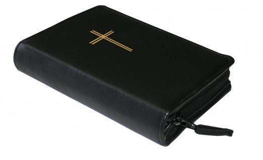 Gotteslobhülle Kreuz Gold Rindleder Schwarz Gesangbuch Einband Katholisch