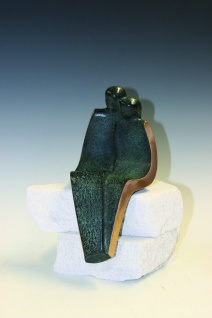 Bronzeskulptur Paar sitzend 20 cm Figur Bronze Statue Skulptur