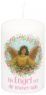 Tischkerze Engel Ein Engel sei dir immer nah 10 cm Stumpenkerze bedruckt