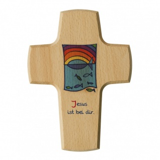 Kinderkreuz Fische Regenbogen Buche 15 cm Wandkreuz Holzkreuz Jesus ist bei dir