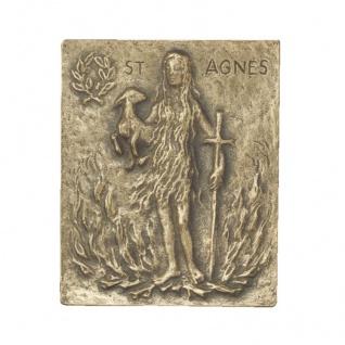 Namenstag Agnes Bronzeplakette 13x10 cm Bronzerelief Wandbild Schutzpatron